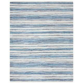 Safavieh Hand-Woven Rag Cotton Rug Ivory/ Blue Cotton Rug (8' x 10')