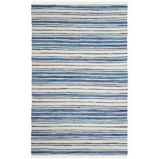 Safavieh Hand-Woven Rag Cotton Rug Ivory/ Blue Cotton Rug (2' 6 x 4')