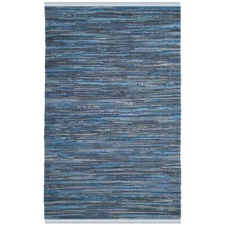 Safavieh Hand-Woven Rag Cotton Rug Blue/ Multicolored Cotton Rug (2' 6 x 4')