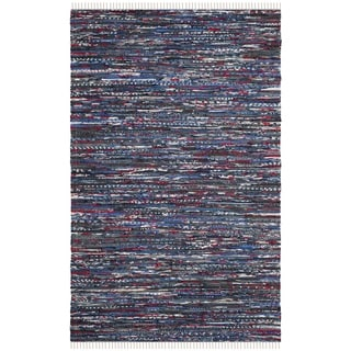 Safavieh Hand-Woven Rag Cotton Rug Blue/ Multicolored Cotton Rug (2' 6 x 4')