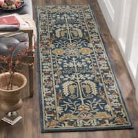 "Safavieh Antiquity Traditional Handmade Dark Blue/ Multi Wool Runner - 2'3"" x 8' Runner"