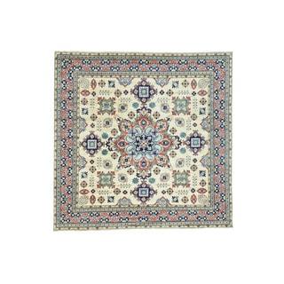 Hand-Knotted Kazak Tribal Design Square Oriental Carpet (10'x10')