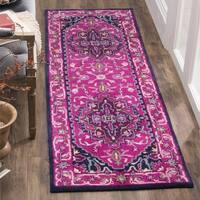 Safavieh Bellagio Handmade Bohemian Pink/ Navy Wool Runner Rug - 2' 3 x 7'
