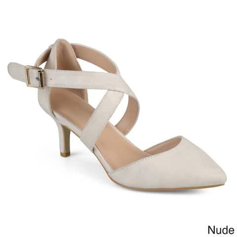 Journee Collection Women's 'Dara' Faux Suede Cross Strap High Heels