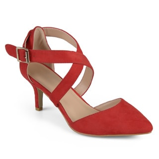 Journee Collection Women's 'Dara' Faux Suede Cross Strap High Heels
