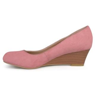 Journee Collection Women's 'Telora' Faux Suede Stacked Wood Heel Wedges