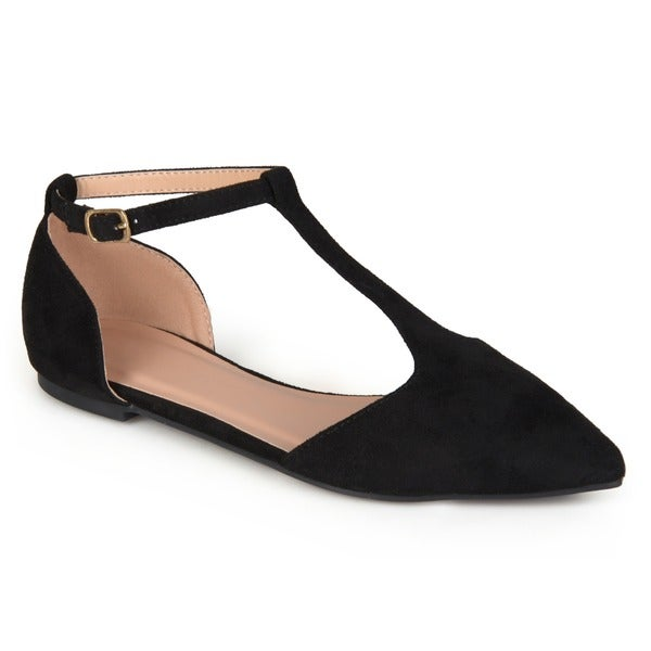Journee Collection Women's 'Vera' Faux Suede T-strap Flats