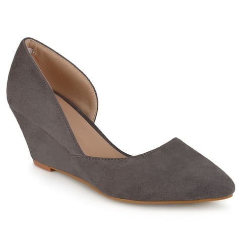 Journee Collection Women's 'Lenox' Faux Suede D'orsay Pointed Toe Wedges