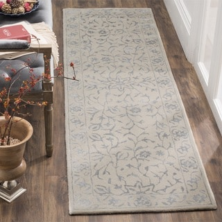 Safavieh Handmade Glamour Floral Silver/ Ivory Viscose Runner (2' 3 x 8')