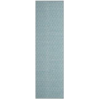 Safavieh Handmade Flatweave Montauk Eliina Casual Cotton Rug (23 x 6 Runner - Ivory/Turquoise)