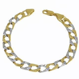 Regalia Two-tone 14 KT gold casting link bracelet with Cubic Zirconia