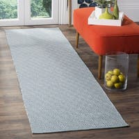 Safavieh Montauk Handmade Geometric Flatweave Ivory/ Light Blue Cotton Runner (2' 3 x 8')