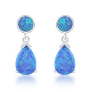 La Preciosa Sterling Silver Created Opal Teardrop Earrings