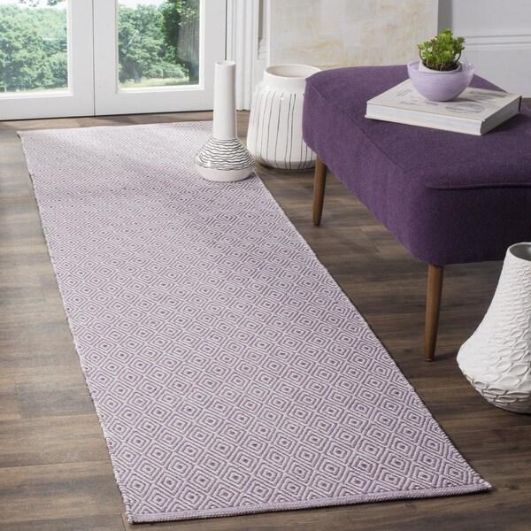Safavieh Hand-Woven Montauk Flatweave Ivory/ Purple Cotton Runner (2' x 8') - 2' x 8'