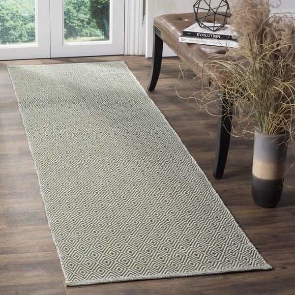 Safavieh Montauk Handmade Geometric Flatweave Ivory/ Green Cotton Runner (2' 3 x 8')