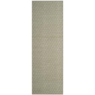Safavieh Handmade Flatweave Montauk Eliina Casual Cotton Rug (23 x 8 Runner - Ivory/Green)