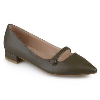 Journee Collection Women's 'Vasha' Faux Leather Block Heel Flats