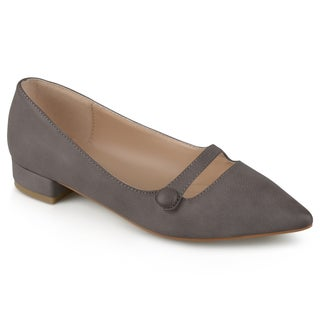 Journee Collection Women's 'Vasha' Faux Leather Block Heel Flats