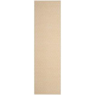 Safavieh Handmade Flatweave Montauk Eliina Casual Cotton Rug (23 x 8 Runner - Ivory/Gold)