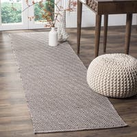 Safavieh Hand-Woven Montauk Flatweave Ivory/ Chocolate Cotton Runner (2' x 8')