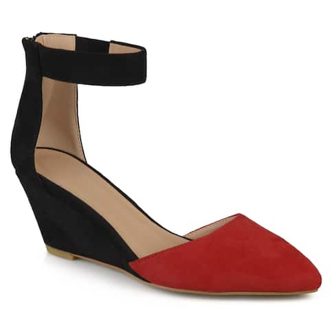 Journee Collection Women's 'Kova' Faux Suede Ankle Strap Pointed Toe Wedges