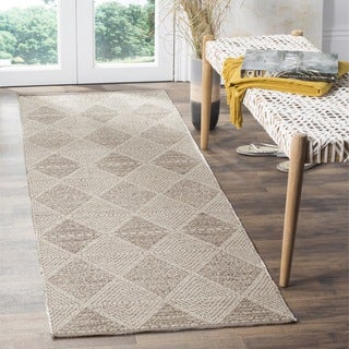 Safavieh Hand-Woven Montauk Flatweave Grey Cotton Runner (2' x 7')