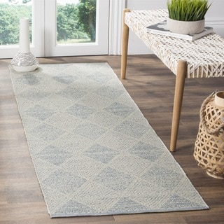 Safavieh Hand-Woven Montauk Flatweave Light Blue Cotton Runner (2' x 7')