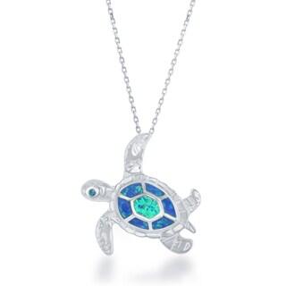 La Preciosa Sterling Silver Created Opal Turtle Pendant