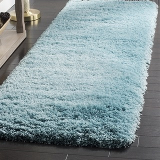 Safavieh Polar Light Turquoise Shag Runner (2' 3 x 8')