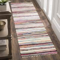 Safavieh Hand-Woven Rag Cotton Runner Ivory/ Multicolored Cotton Runner (2' 3 x 8')