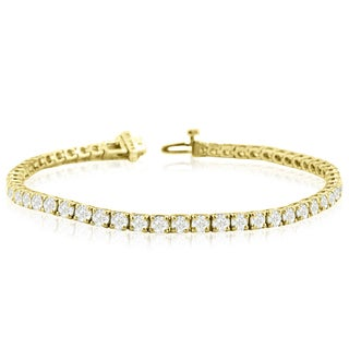 14k Yellow Gold 8 Carat TDW Round Diamond Tennis Bracelet (J-K, I2-I3)