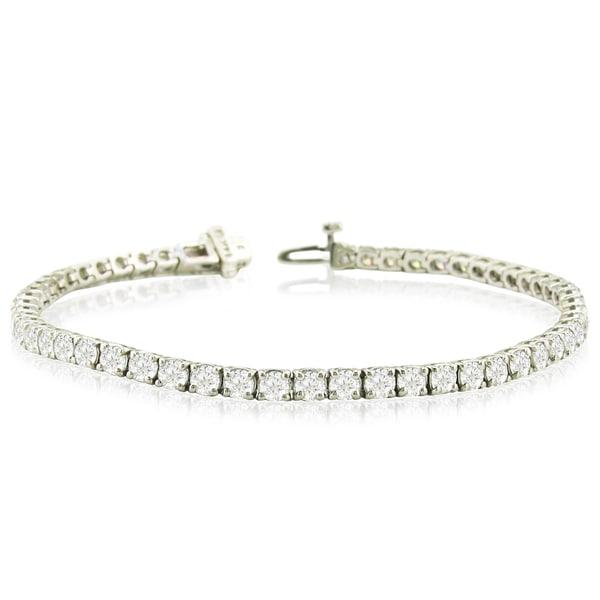 14k White Gold 8ct Tdw Round Diamond Tennis Bracelet