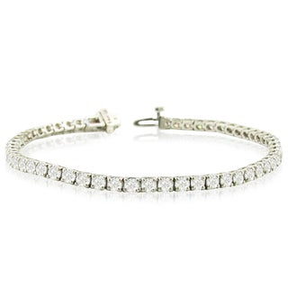 14k White Gold 8ct TDW Round Diamond Tennis Bracelet