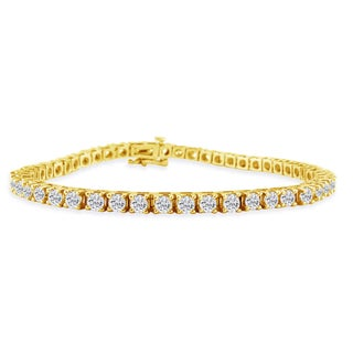 14K Yellow Gold 5 Carat Diamond Tennis Bracelet (J-K, I2-I3) - White J-K
