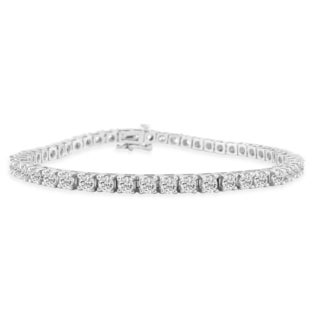 14K White Gold 5 Carat Diamond Tennis Bracelet (J-K, I2-I3)