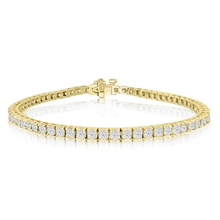 14k Yellow Gold 4ct Diamond Tennis Bracelet - White J-K (More options available)