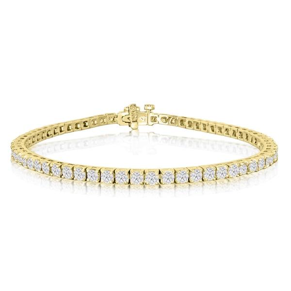 14k Yellow Gold 4ct Diamond Tennis Bracelet White J K