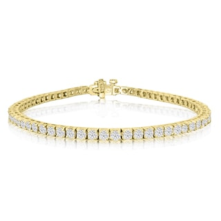 14K Yellow Gold 4 Carat Diamond Tennis Bracelet (J-K, I2-I3)