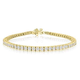 14k Yellow Gold 4ct Diamond Tennis Bracelet - White J-K