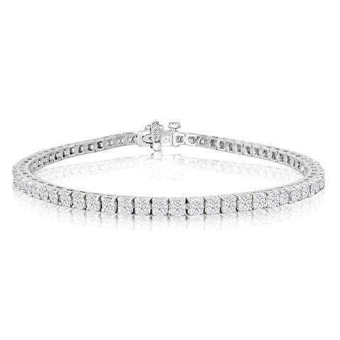 14k White Gold 4ct TDW Diamond Tennis Bracelet (J-K, I2-I3) - White J-K