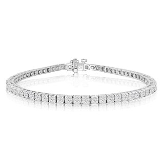 14k White Gold 4ct TDW Diamond Tennis Bracelet (J-K, I2-I3) - White J-K
