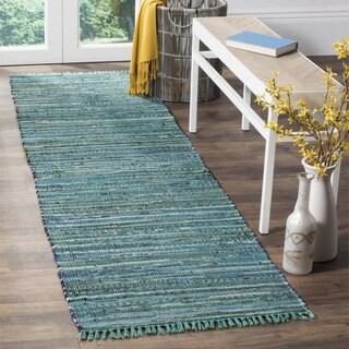 Safavieh Hand-Woven Rag Cotton Runner Turquoise/ Multicolored Cotton Runner (2' 3 x 8')