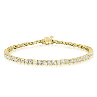 10K Yellow Gold 3 Carat Diamond Tennis Bracelet (J-K, I2-I3)