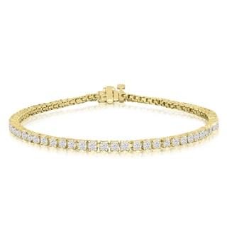 10K Yellow Gold 3 Carat Diamond Tennis Bracelet (J-K, I2-I3)