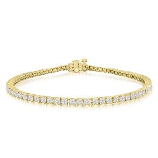 10K Yellow Gold 3 Carat Diamond Tennis Bracelet (J-K, I2-I3) - White J-K