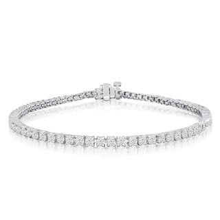10K White Gold 3 Carat Diamond Tennis Bracelet (J-K, I2-I3) - White J-K (Option: 6 Inch)