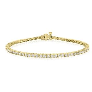 10K Yellow Gold 2 Carat Diamond Tennis Bracelet (J-K, I2-I3) - White J-K