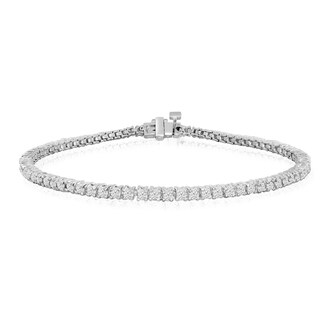10K White Gold 2 Carat Diamond Tennis Bracelet (J-K, I2-I3) - White J-K (Option: 6 Inch)