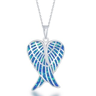 La Preciosa Sterling Silver Blue, White, or Pink Opal Angel Wings Pendant