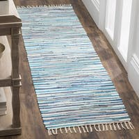 Safavieh Hand-Woven Rag Cotton Runner Turquoise/ Multicolored Cotton Runner (2' 3 x 8')